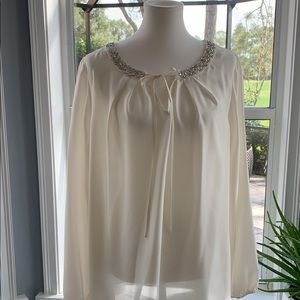 Satin tunic blouse w/ embellished collar sz 2x